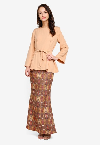 Freesia Modern Kurung with Batik Printed Maxi Skirt from Fazboka in Beige