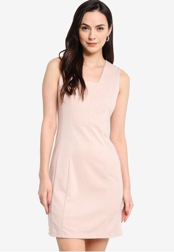 ZALORA WORK beige Textured Sleeveless Dress 526AEAAE4F9D3EGS_1