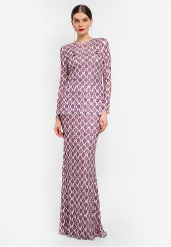 Rizalman for Zalora white and purple Slim Lace Kurung RI909AA0SF14MY_1