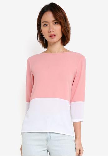 ZALORA BASICS white Colourblock Long Sleeves Top CAA80AAAEC088AGS_1