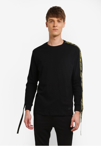 Flesh IMP black Taping Long Sleeve Sweatshirt FL064AA0RNABMY_1