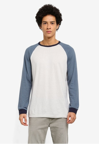 MANGO Man blue Raglan Sleeve T-Shirt 57C46AAEE2EED4GS_1