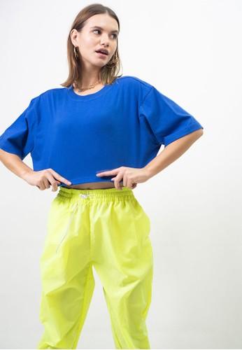 Ocwa Studio blue OCWA ALANA CROP ELECTRIC BLUE TEE 16266AA4706F32GS_1