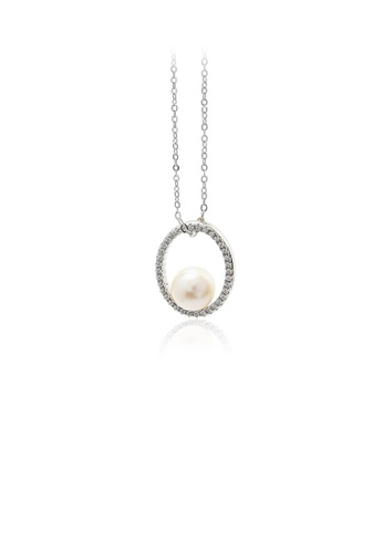 Glamorousky white 925 Sterling Silver Fashion Simple Hollow Geometric Freshwater Pearl Pendant with Cubic Zirconia and Necklace 27DC9AC3364489GS_1