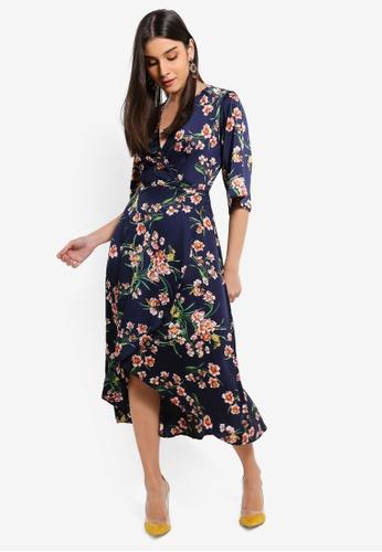 95bc59597567 Buy AX Paris Navy Floral Print Midi Wrap Dress Online | ZALORA Malaysia