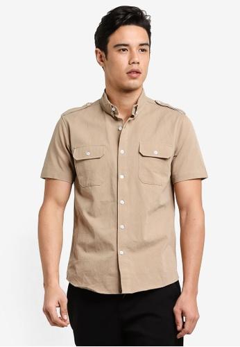 Flesh IMP brown Double Pocket Short Sleeve Shirt FL064AA86FCJMY_1