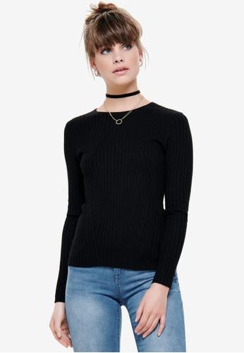 ONLY black Natalia Long Sleeve Rib Pullover 85F3AAA01047FEGS_1