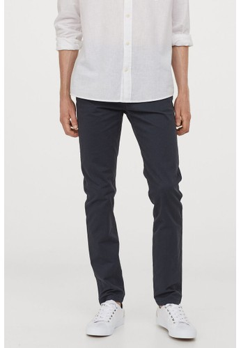 H&M blue Cotton chinos Skinny Fit 2DDB5AAB4A6B69GS_1