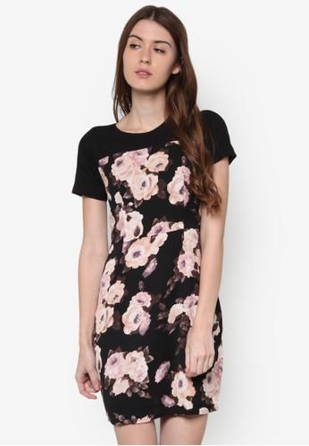 Nesprit門市acita 花卉圖案短袖洋裝, 服飾, 洋裝