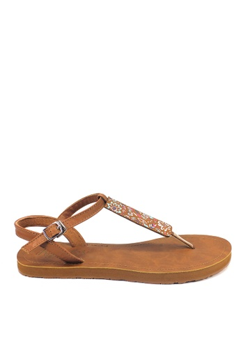 Ripples brown Livia Florals Slide'N'Style T-Bar Sandals RI425SH42JXLSG_1