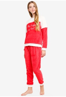 e190fad918 Red And White Fluffy Long Pyjama Set With White Fur 47EFFAACBCD41FGS 1