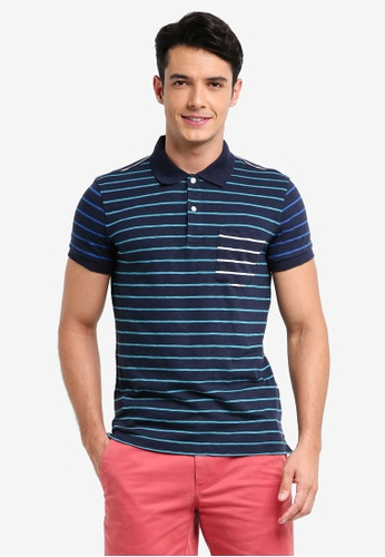 Brooks Brothers 藍色 短袖條紋POLO衫 BB70CAAD6AFD93GS_1