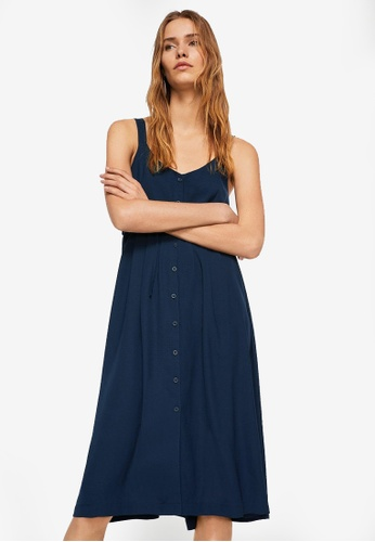 Mango blue Buttoned Bow Dress CAF99AA89262A7GS_1