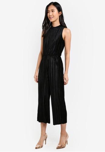 WAREHOUSE black Velvet Plisse Jumpsuit WA653AA0SC02MY_1