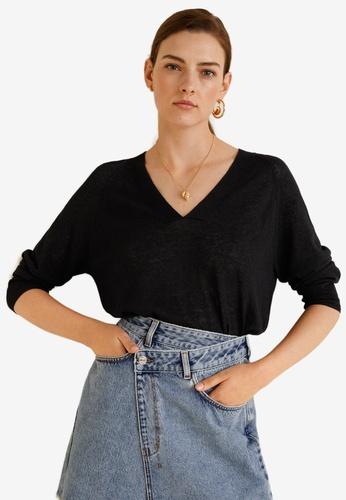Mango black Knit Linen Sweater F1684AA4C51124GS_1