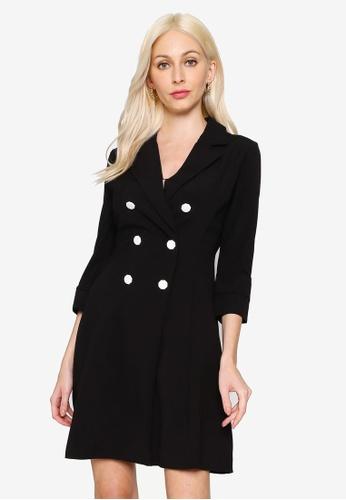 Hopeshow black Double Breasted V-Neck Mini Dress E206FAA5C95F8CGS_1