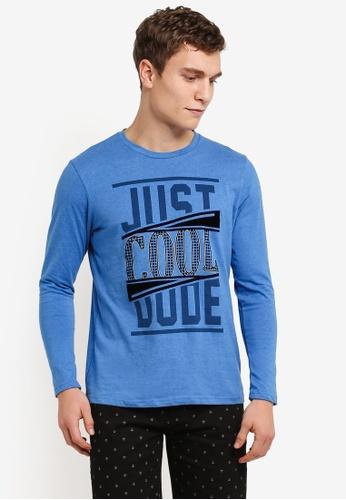 Marc & Giselle blue Long Sleeve Graphic Tee MA188AA0S15JMY_1