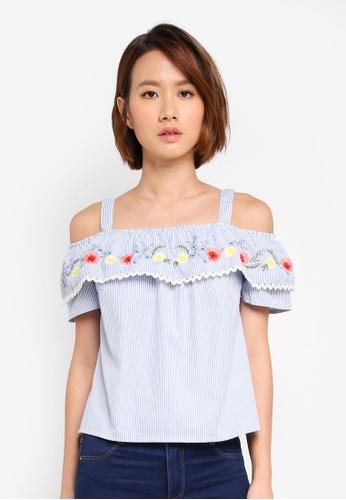 Dorothy Perkins blue Petite Cold Shoulder Top 5C4E0AAEB06BB8GS_1