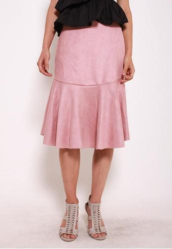 Leline Style pink Kiana Seude Ruffles Skirt F7BDAAAF19BFC6GS_1