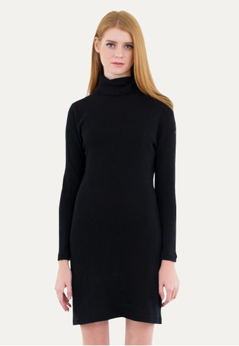 LOOKBOUTIQUESTORE black Halter Knit Dress Black 4F1E6AA3FBFA67GS_1