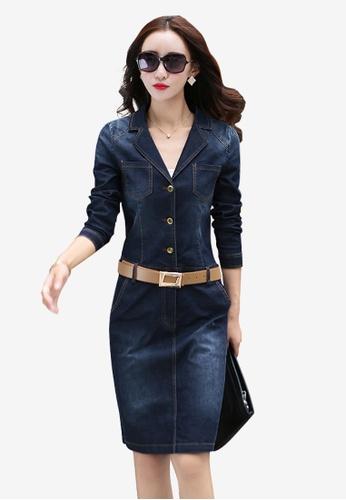 Lara blue Denim One Piece Dress for Women 486E8AAD1F83ACGS_1