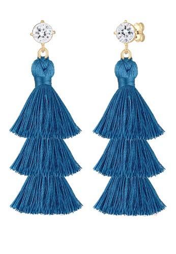 Elli Germany blue 925 Sterling Silver Earring Tassel Geo Swarovski® Crystals Biru EBBB6AC9B30E72GS_1