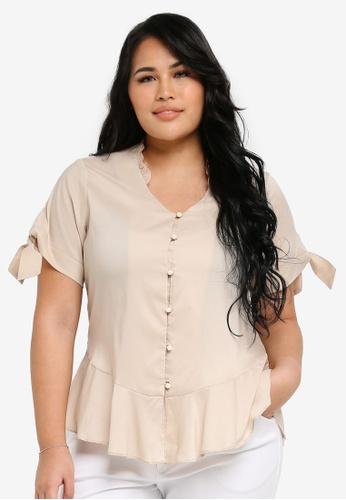 Ex'otico white Plus Size Short Sleeve V Neck With Frilly Blouse EX373AA0SL8IMY_1
