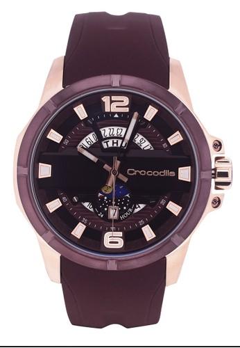 Crocodile Timepiece brown Jam Tangan Pria Analog Sports Chrono Strap Silicon CM-035D34F Brown 30822AC4556F84GS_1