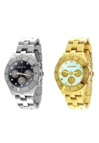 Dooka multi and silver and gold Exactime  Stainless Steel Strap Wrist Watch Singapore Design Watch BUNDLE Set of 2    DO079AC68RMLPH_1