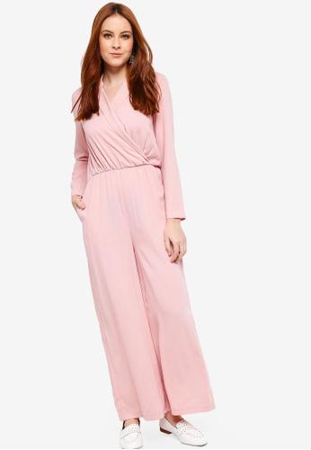 04e040a9abc9 Zalia pink Lapel Wrap Jumpsuit 403B6AA53B4C78GS 1