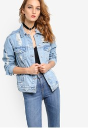TOPSHOP blue Mid Blue Extreme Oversize Jacket TO412AA50NPDMY_1