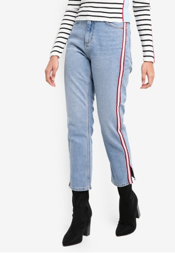 691653000ffc TOPSHOP blue Moto Side Striped Straight Leg Jeans 1455AAAC4919D7GS 1