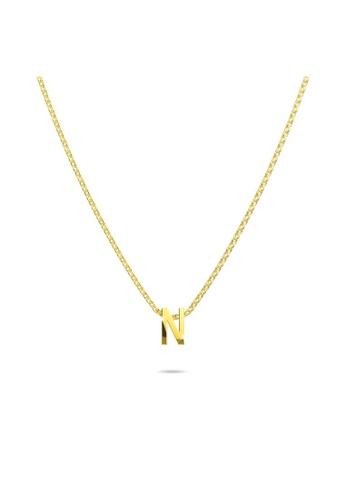 Bullion Gold gold BULLION GOLD Initials Brick Alphabet Letter Necklace Gold Layered Steel Jewellery  - N B39CDAC41A0163GS_1