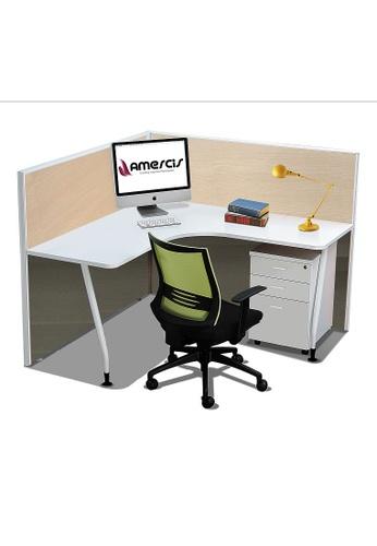 AMERCIS white Amercis Stamford L-Shaped Workstation for 1 B15B7HL08E37DBGS_1