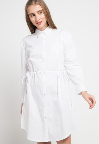 ULTRAVIOLET BY COME white Oversized Drawstring Dress 87410AABE90821GS_1