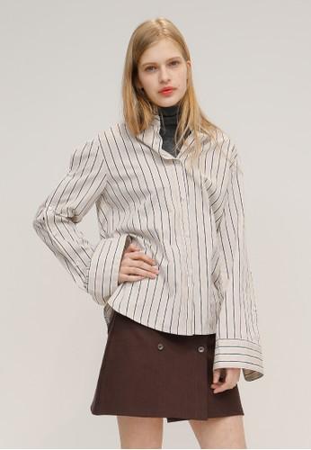簡單現代版條紋esprit hk outlet襯衫, 服飾, 上衣