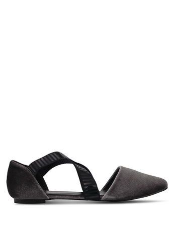 MISSGUIDED grey Cross Elasticated Strap Pointed Flats MI511SH0SP8LMY_1