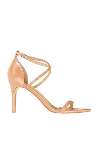 Twenty Eight Shoes 米褐色 光亮搭帶高跟涼鞋 VS126A7 B6412SH3926186GS_1
