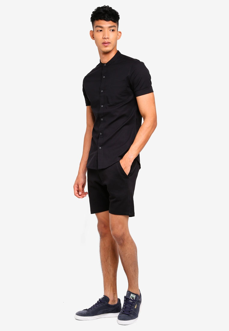 Oxford Short Black Shirt Muscle Sleeve Topman Black tHOOqA
