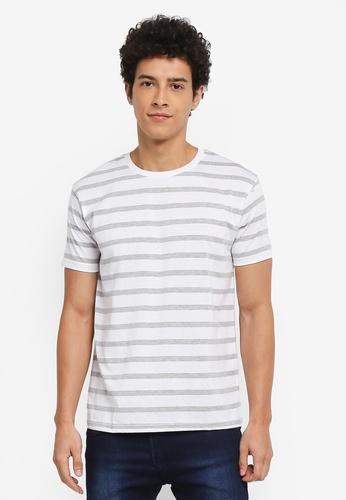 Penshoppe grey Striped T-Shirt 8F530AAF1CF186GS_1