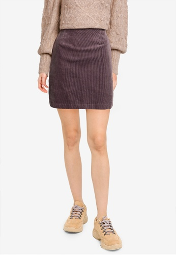 Heather grey Texture Mini Skirt 794D5AAA510289GS_1