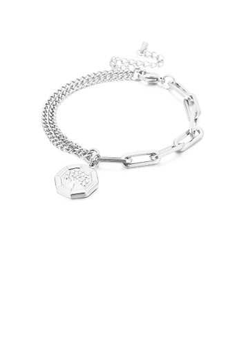 Glamorousky silver Fashion Personality Tree Of Life Geometric Tag 316L Stainless Steel Bracelet 7FC36AC0AD7E37GS_1