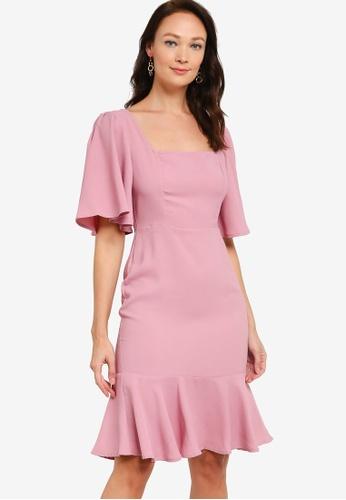 ZALORA OCCASION pink Square Neck Mermaid Dress 694B3AAC9EBCBCGS_1