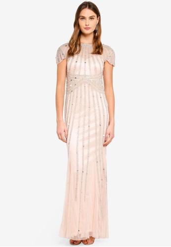 Goddiva beige Sunray Hand Embellished Maxi Dress 00D02AA0B25EC5GS_1