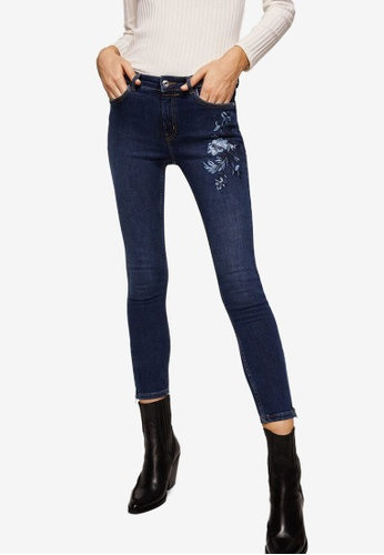 Mango blue Floral Embroidery Slim Jeans 83028AAA4B05C3GS_1