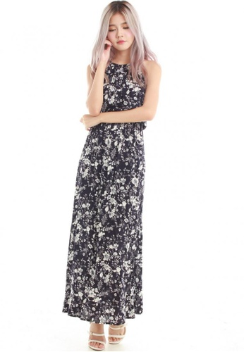Sophialuv navy Adrienne Halter Maxi Dress in Navy white Floral 8761EAA48E2BE2GS_1