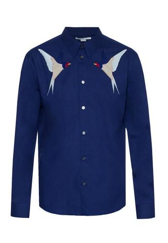 STELLA MCCARTNEY blue Stella Mccartney Embroidery Bird On Chest Shirt in Blue D2BEBAA7F9534DGS_1
