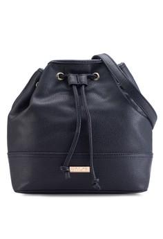 Pebbled Contrast Edge Classic Bucket Bag