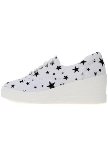 Maxstar 7H 5 Holes Star Shape Pattern Denim Lace Up Sneakers US Women Size MA168SH85DXAHK_1