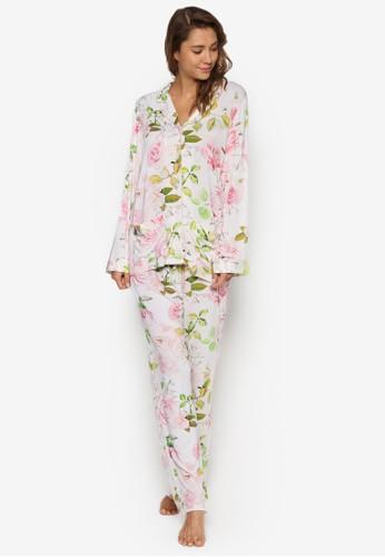 Viviesprit服飾an 人造絲印花長袖睡衣套裝, 服飾, 服飾